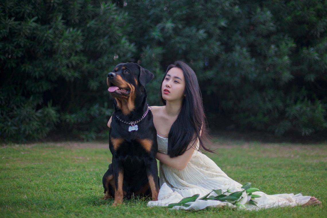 femme avec un chien